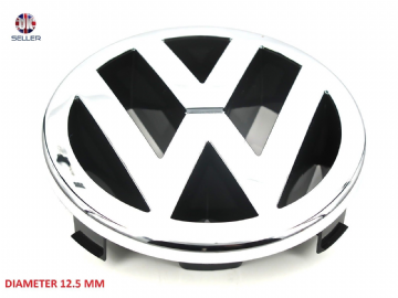 VW GOLF CADDY POLO IV TOURAN EOS FRONT BONNET GRILLE EMBLEM LOGO BADGE 125 MM